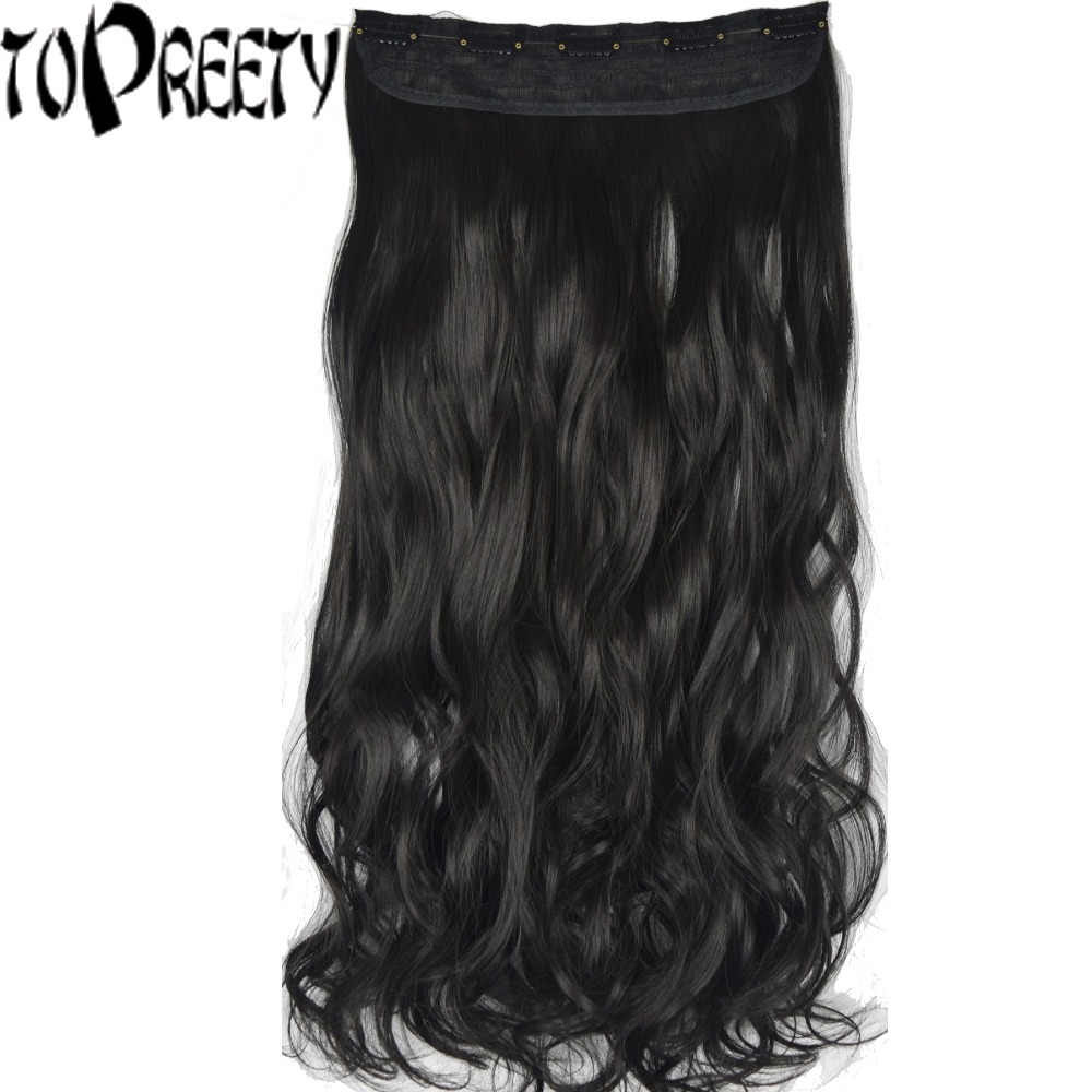 TOPREETY Heat Resistant B5 Synthetic 24 60cm 120gr Body Wave 5 Clips on Clip in hair Extensions