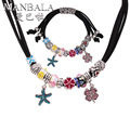 MANBALA Women Ladies Fashion Jewelry Sea Star Pendant Necklace and Glass Beads Flower Bracelet with Clover Jewelry Sets 900AL