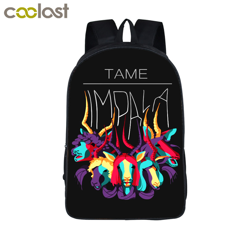 Rock Band TAME IMPALA Backpack For Teenage Girls Boys Children School Bags DEER PSYCHEDELIC ROCK Backpacks Women Men Punk Bag new 3d skull backpack shoulder bags for men printing backpack men punk rock school backpack for men casual school bags for boys