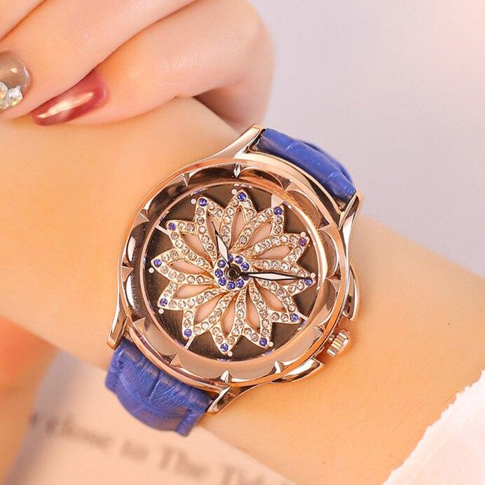 7 Colors Mashali Watch Women Watches Lady Shining Rotation Dress Watch Big Diamond Stone Wristwatch Lady Genuine Leather Watch diamond stylish watches for girls