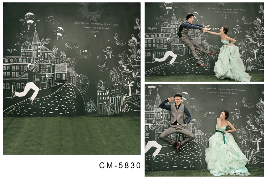 ФОТО Funny Wedding Photography Backdrops Blackboard White Chalk Picture 200*300 CM Photography Background for Studio Custom Letters