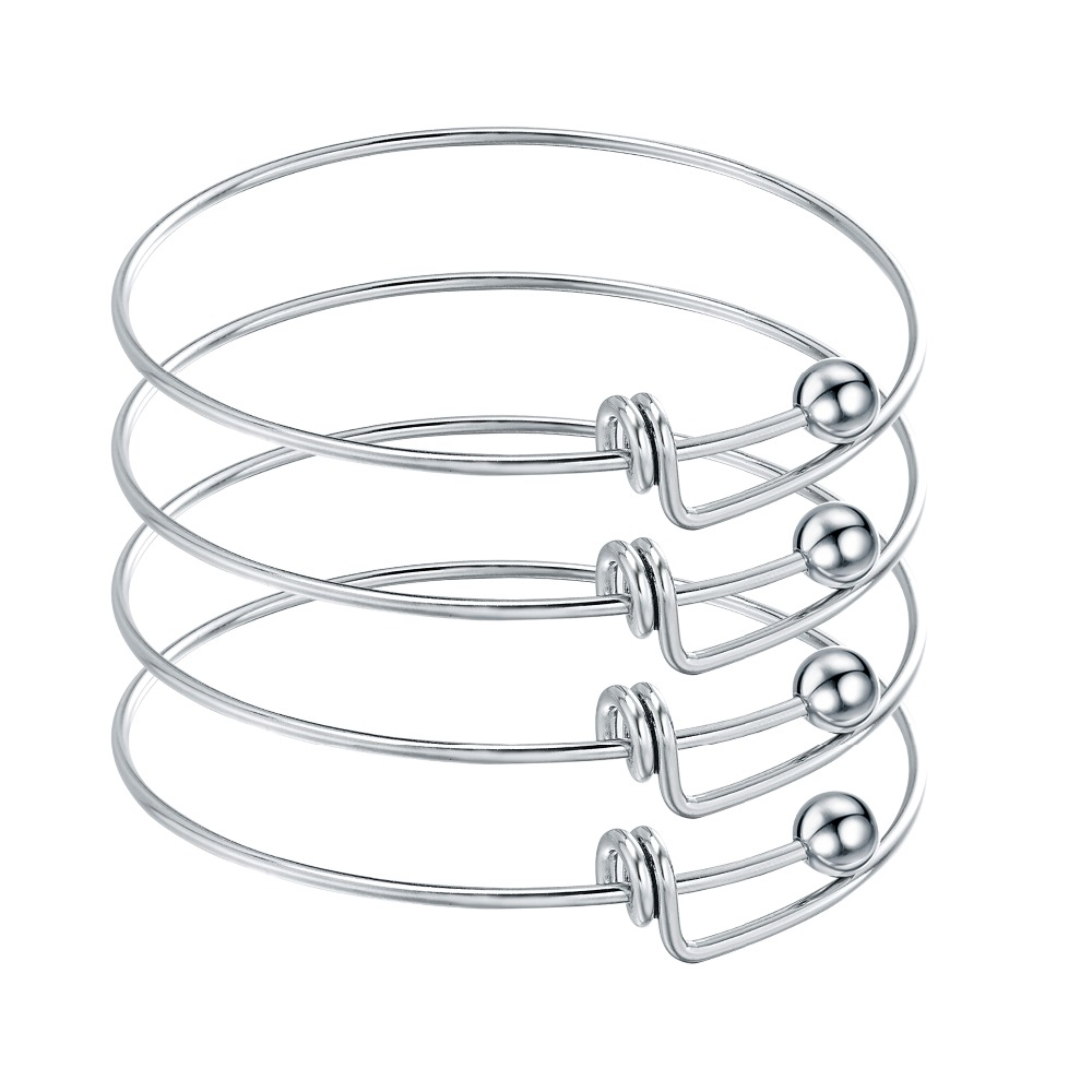 Us 6 5 49 Off 10pcs Stainless Steel Blank Adjule Expandable Wire Bracelets Bangles For Diy Charm Bangle Jewelry In From