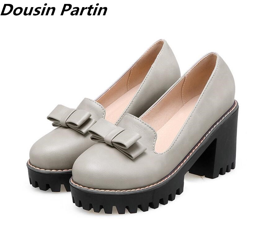 2018 Dousin Partin Fashion Black Women Pumps Square High Heel Platform Round Toe Bow Tie PU