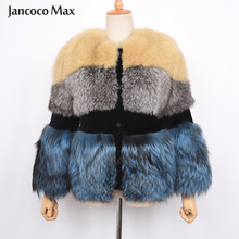 2019 New Style Women's Real Fox Fur Coat Winter Thick Warm Mix Color Natural Fur Jacket Top Quality S7459