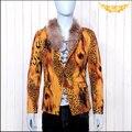 Envío gratis cuello de piel de Lujo estampado de leopardo de los hombres traje de los hombres personalizados ropa traje chaqueta de traje/M-XL
