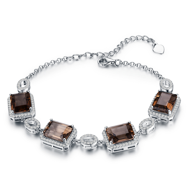 22 3ct Natural Smoky Quartz Bracelets For Women 925 Sterling Silver Jewelry Square Gemstone Charm