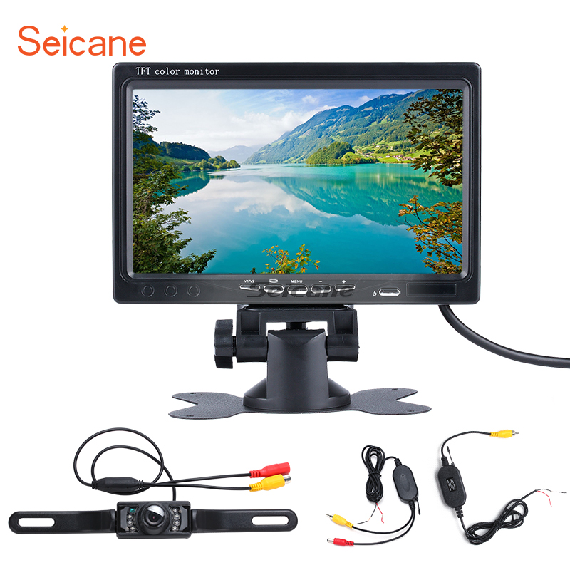 Seicane Universal 7 inch HD 1024*600 DVR Reverse System TFT LCD Car Auto Parking Monitor Rearview Camera Digital Video Recoder