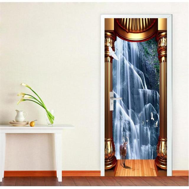 US $20.5 |Tür Tapete Wasserfall Goldene Säule Fototapeten Tapeten  Hintergrund Wohnzimmer Schlafzimmer Glas Aufkleber Selbstklebende Malerei  in Tür ...