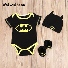 Hot sell Newborn Baby Rompers Batman Cotton Short Sleeve  Rompers+Shoes+Hat 3Pcs Outfits Set Clothing For Boys