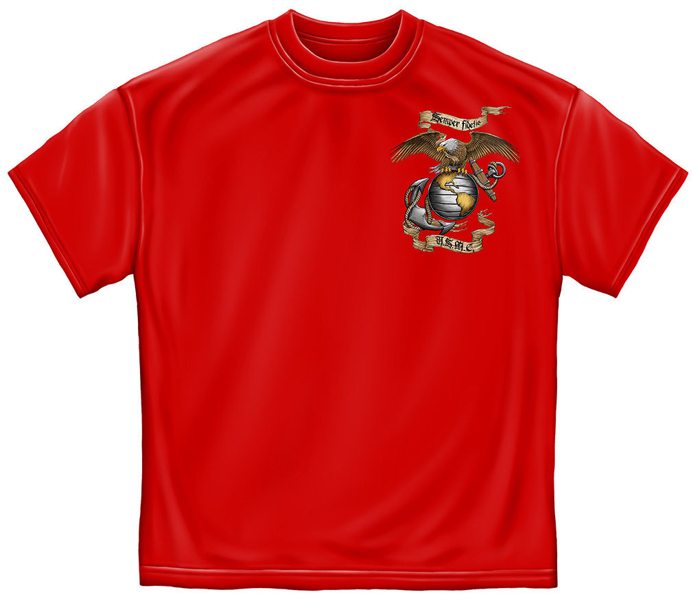 New Fashion Mens Short Sleeve Tshirt Cotton Mens Graphic Apparel <font><b>T</b></font>-<font><b>Shirt</b></font> SEMPER FIDELIS <font><b>USMC</b></font> Red <font><b>T</b></font> <font><b>Shirt</b></font> image