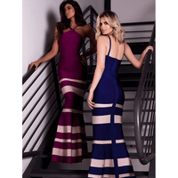 2017 Top Quality New Elegant Mermaid Maxi Long Bandage Dress Women Luxury Striped Cocktail Party Dresses