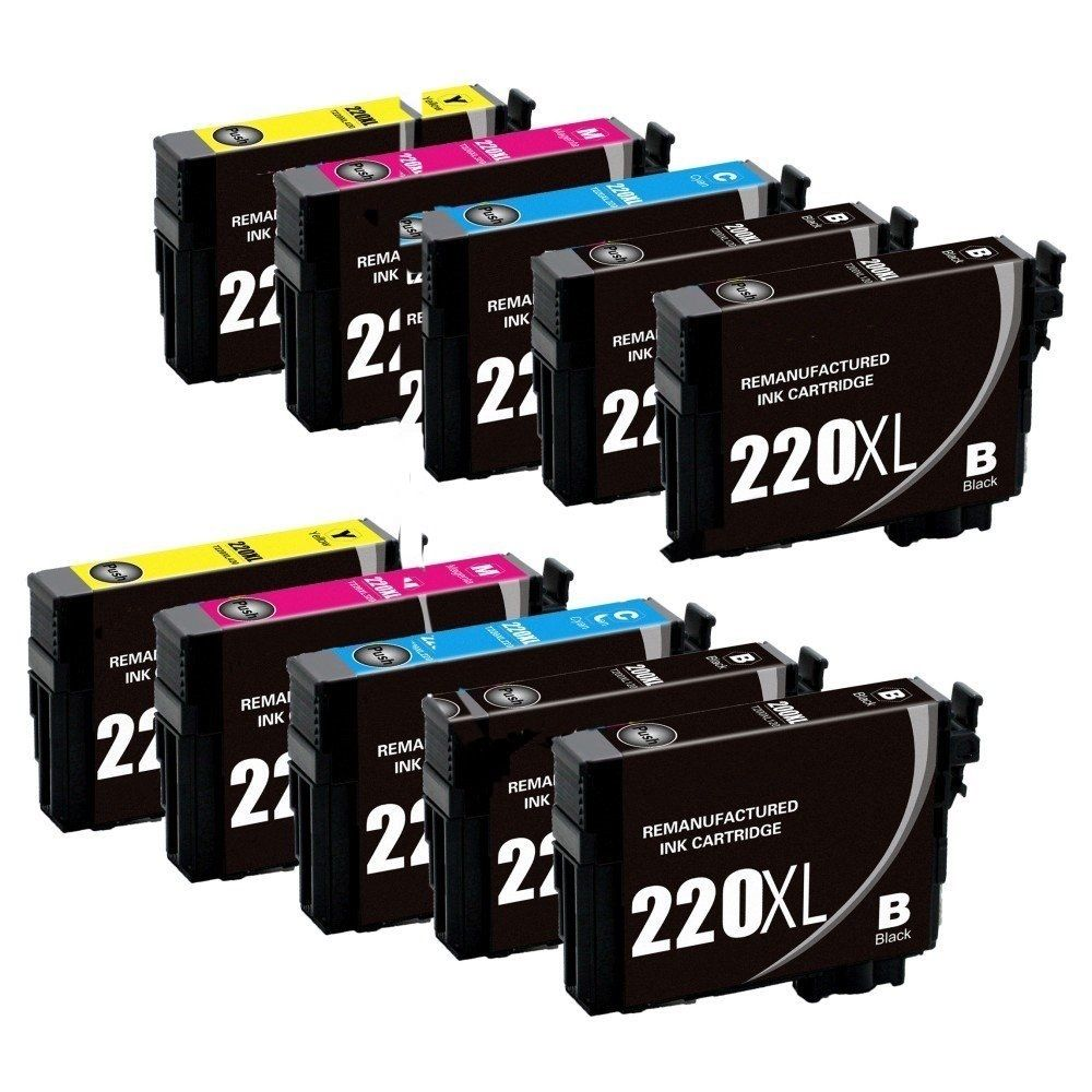 10x T220XL Remanufactured Ink Cartridges Compatible for Workforce WF2630 WF2650 WF266010x T220XL Remanufactured Ink Cartridges Compatible for Workforce WF2630 WF2650 WF2660