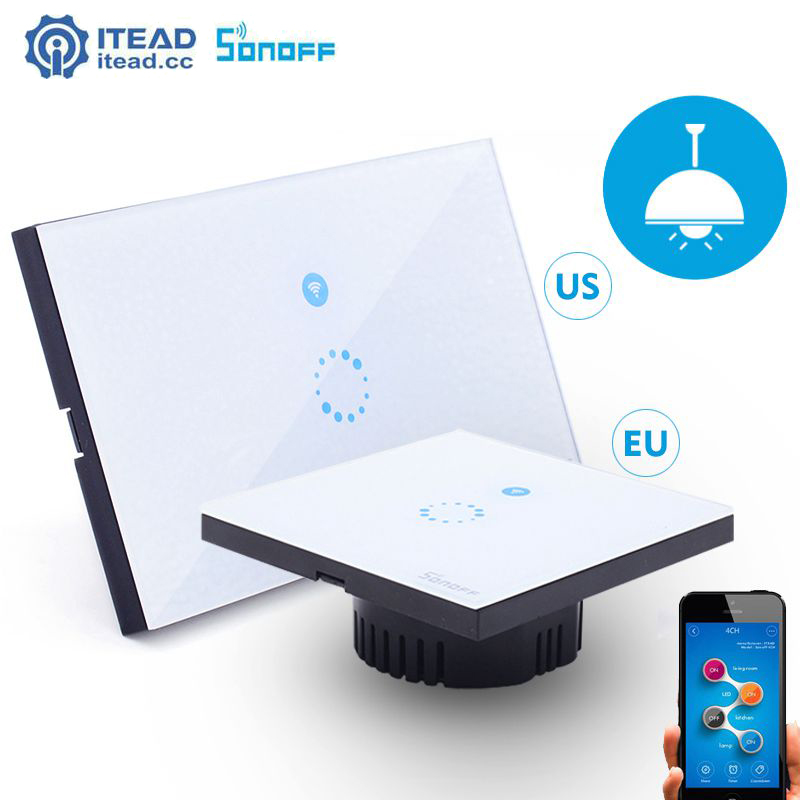 Itead Sonoff Touch Switch Wifi LED Light Wall WIFI Wireless US EU Glass Panel Plate Smart Home Remote Switch for IOS/Android smart home us au wall touch switch white crystal glass panel 1 gang 1 way power light wall touch switch used for led waterproof