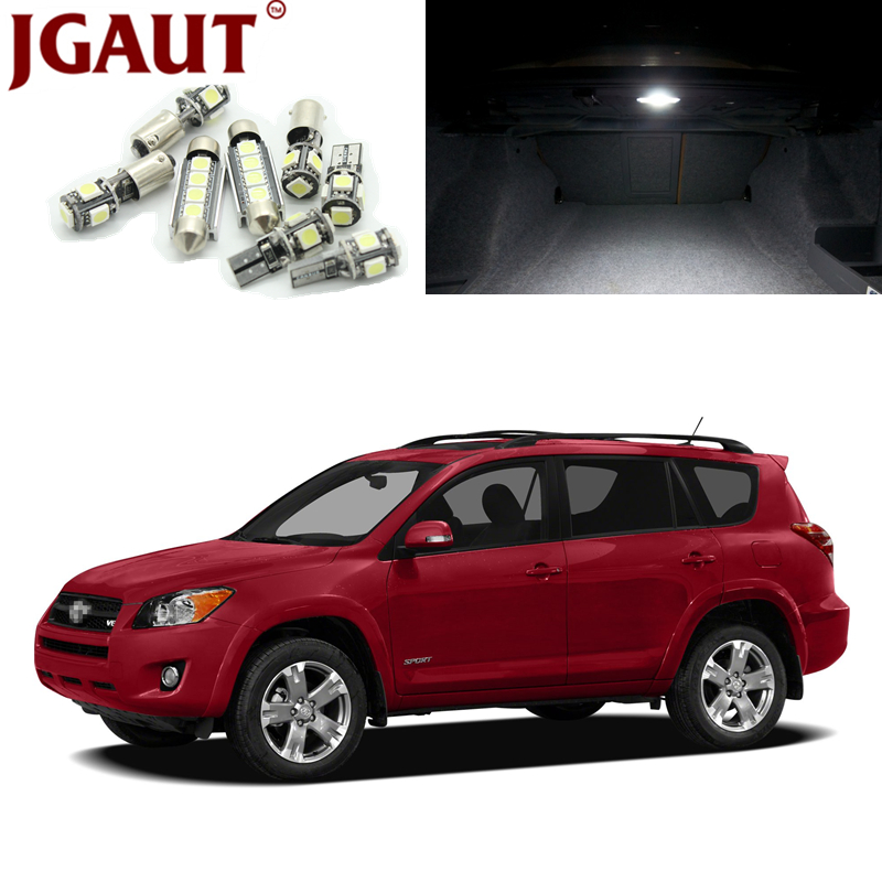 JGAUT LED Lights Interior Package Kit For 2006 -2012 Toyota RAV4 Map Dome License Plate Trunk/Cargo Step/Courtesy Light