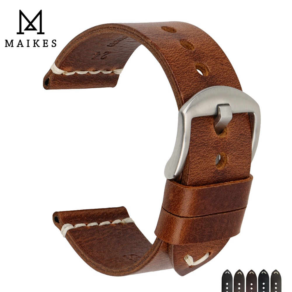 MAIKES Watch Accessories Cow Leather Strap Watch Bracelet Brown Vintage Watch band 20mm 22mm 24mm Watchband For Fossil Watch-in Watchbands from Watches