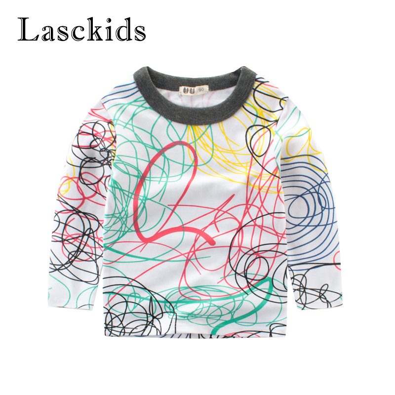 New Boys T shirt Spring Long Sleeve Cotton Kids T-shirts Scrawl Printed Autumn Baby Toddler Boys T shirt Tops Children Clothing free shipping 55x60 1 meters bridge type plastic towline cable drag chain for cnc machine