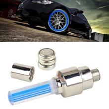 DWCX 4x Aluminum Blue Light Lamp Wheel Tire Tyre Valve Stem Caps for Motorcycle Bike Car Bicycle for VW Audi Mazda Hyundai Kia