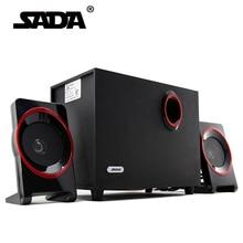 SADA High Quality Wood USB Speaker 2.1 For Computer Smartphone ,3.5 mm Stereo Bass Speakers Hi Fi Boxes For Laptop Desktop PC