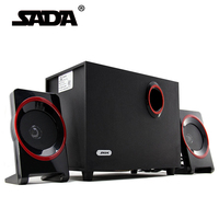 SADA High Quality Wood USB Speaker 2.1 For Computer Smartphone ,3.5 mm Stereo Bass Speakers Hi Fi Boxes For Laptop Desktop PC