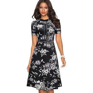 Image 4 - 素敵な永遠のヴィンテージレトロなレースパッチワーク O ネック女性 vestidos ビジネスオフィスパーティーフレア A ライン女性のドレス A140