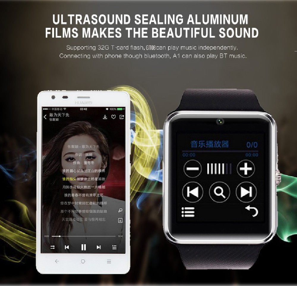 Eyouton Smart Watch GT08 WristWatch Bluetooth Sport Pedometer With SIM Slot Came