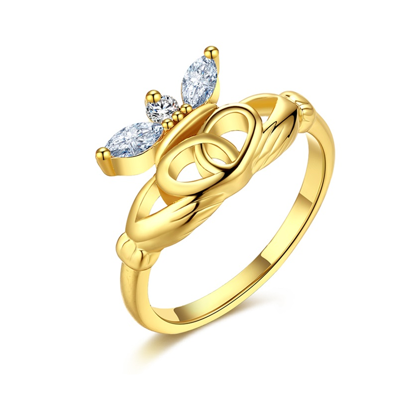 Jenia Charming Gold Color Crown Zircon Finger Ring Simple Romantic Lady Engagement Jewelry CKZCR443