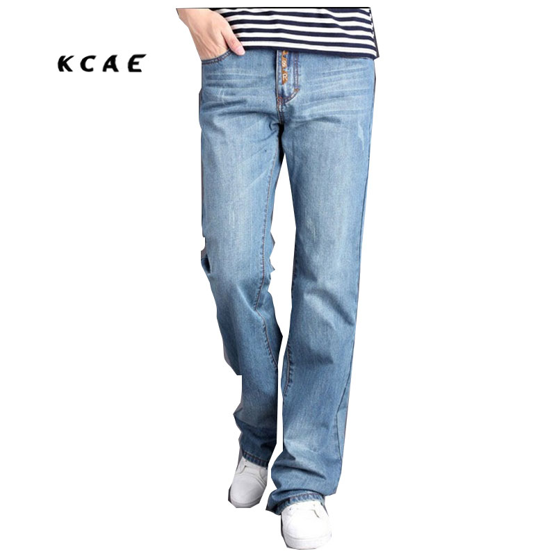 Free Shipping business casual jeans loose spring summer high waist male jeans trousers Men flares Plus Size 28-36