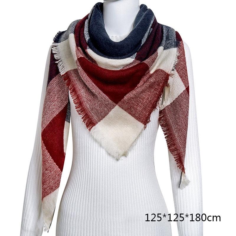Горячая Распродажа, Модный зимний шарф, Женские повседневные шарфы, Дамское Клетчатое одеяло, кашемировый треугольный шарф,, Прямая поставка - Цвет: B2