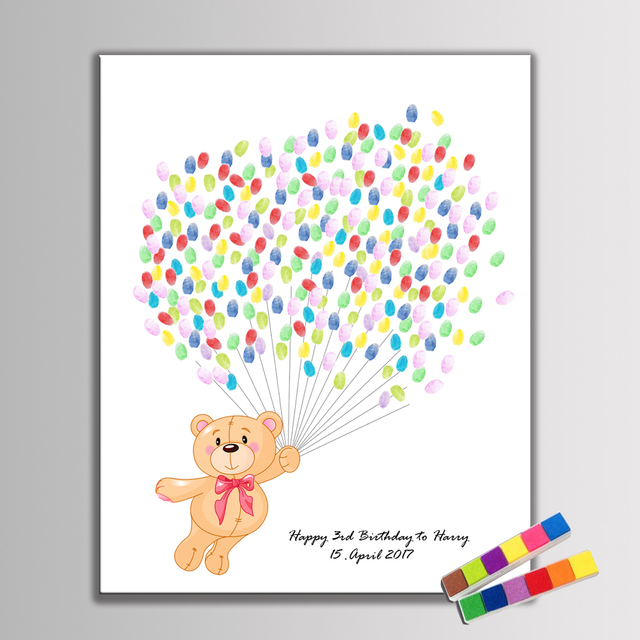 Creative Guest Book DIY Fingerprint Teddy Bear Fly with Balloon For Kid Birthday Baby Shower Baptism Decoration Souvenir