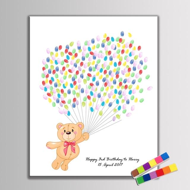 Kreative Gastebuch Diy Fingerabdruck Teddy Bar Fliegen Mit Ballon