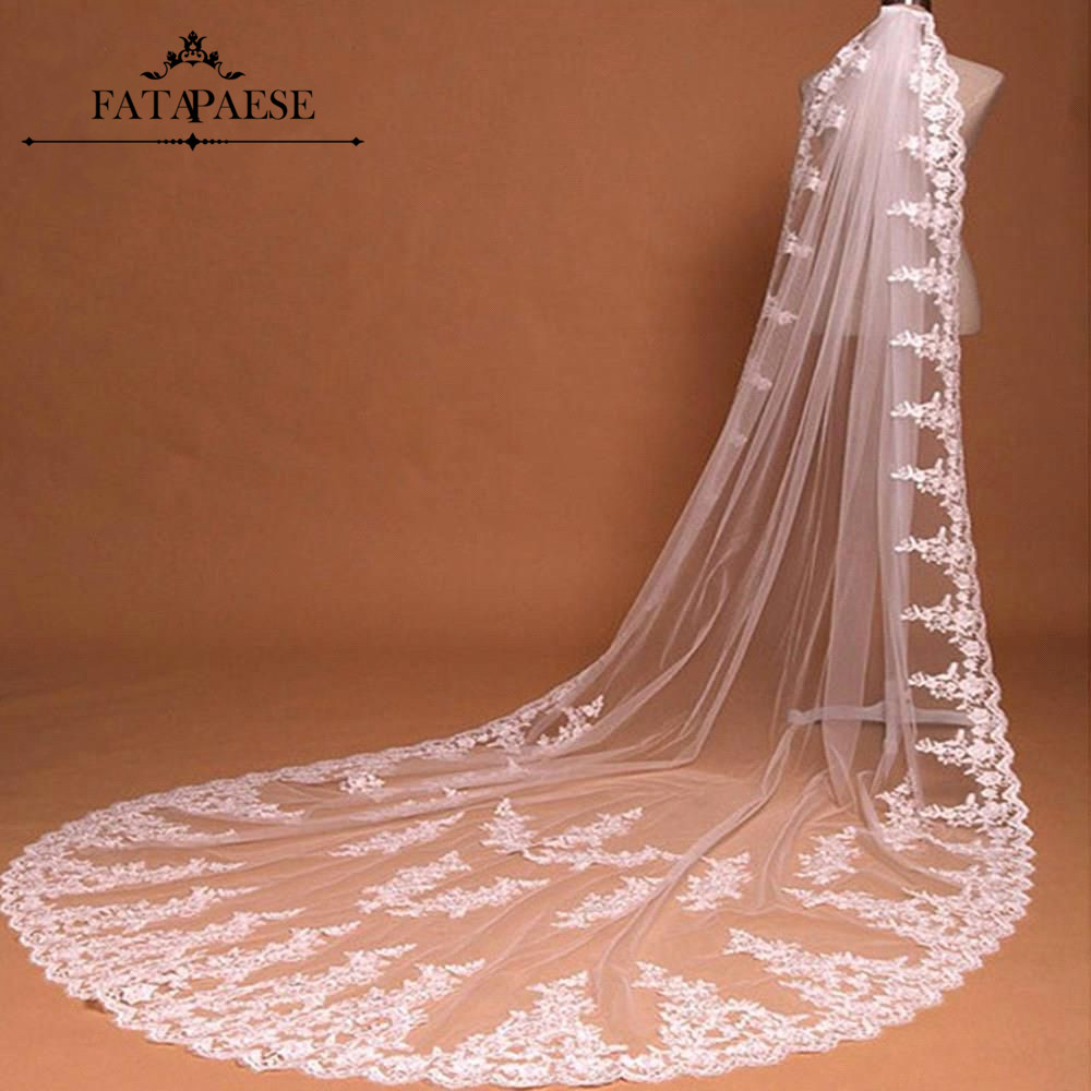Voile mariage 3M Lace Edge 2 Layers White Ivory Long Wedding Veils Soft Tulle Wedding Accessories Bridal Veils velo de novia