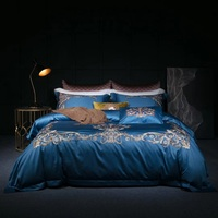 Blue luxury Golden Royal Embroidery 120S Egyptian Cotton Bedding Set Queen King Size Duvet Cover Bed sheet Pillowcases 4pcs