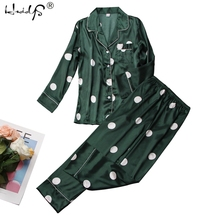 Polka dot print pijamas conjunto 2019 primavera pijamas de seda manga longa pijamas conjuntos com calças para mulher cetim impressão casa wear feminino