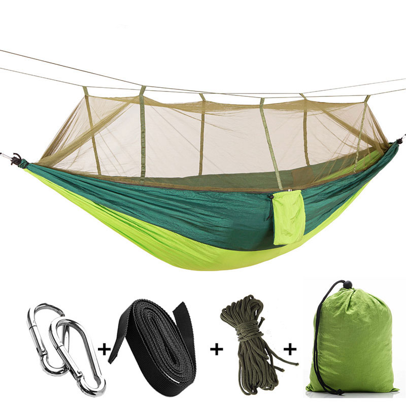 Outdoor Hammock Single Person Mosquito Net Hangmat Camping Hanging Sleeping Backpacking Hamaca Bed Green For Adults DC008 furniture size hanging sleeping bed parachute nylon fabric outdoor camping hammocks double person portable hammock swing bed