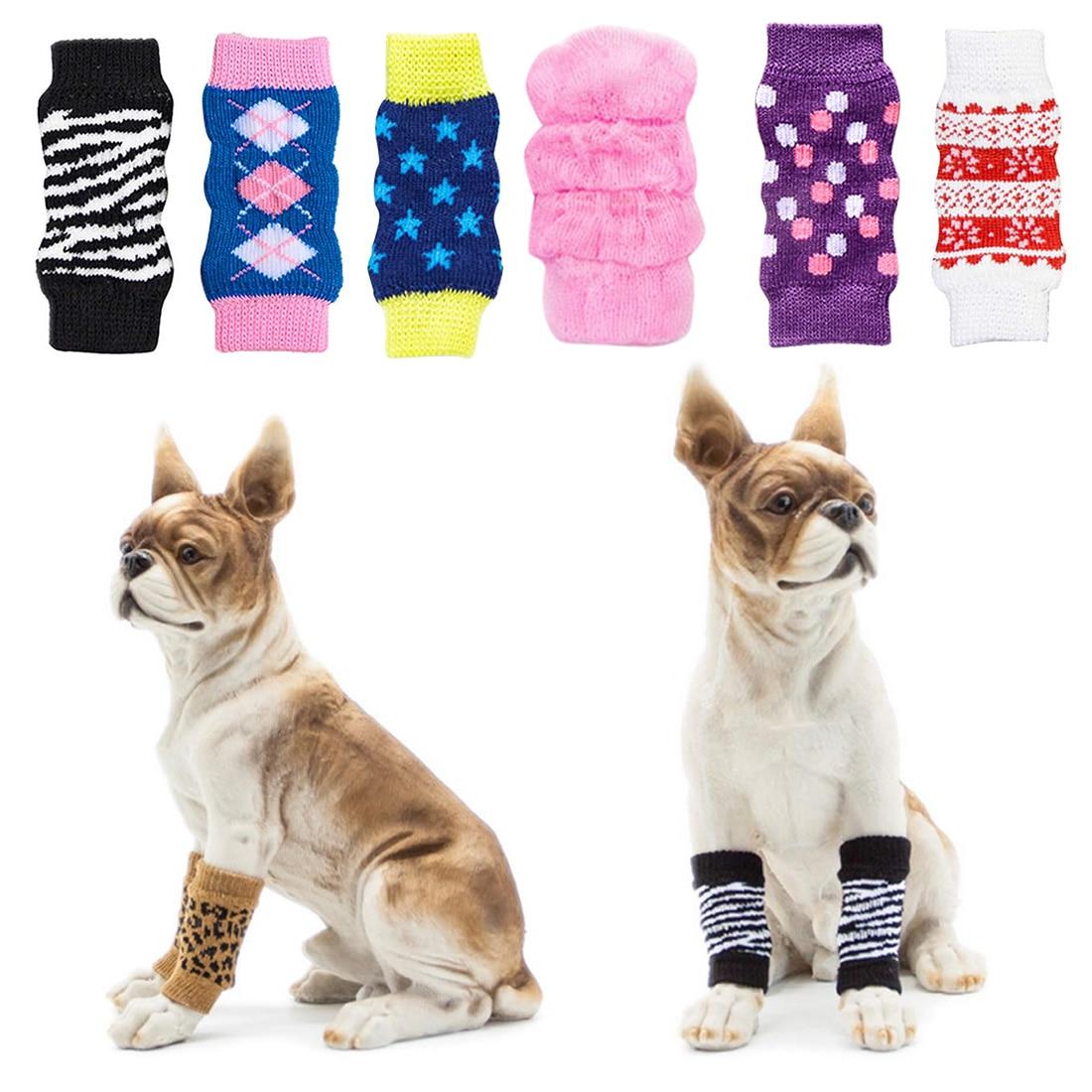 Dierbenodigdheden 4 Stks/set Winter Dikke Warm Puppy Pet Hond Been Sokken Anti Slip Schoenen Zebra Leopard Dots Print Non -slip Beenwarmers Voor Het Verbeteren Van De Bloedsomloop