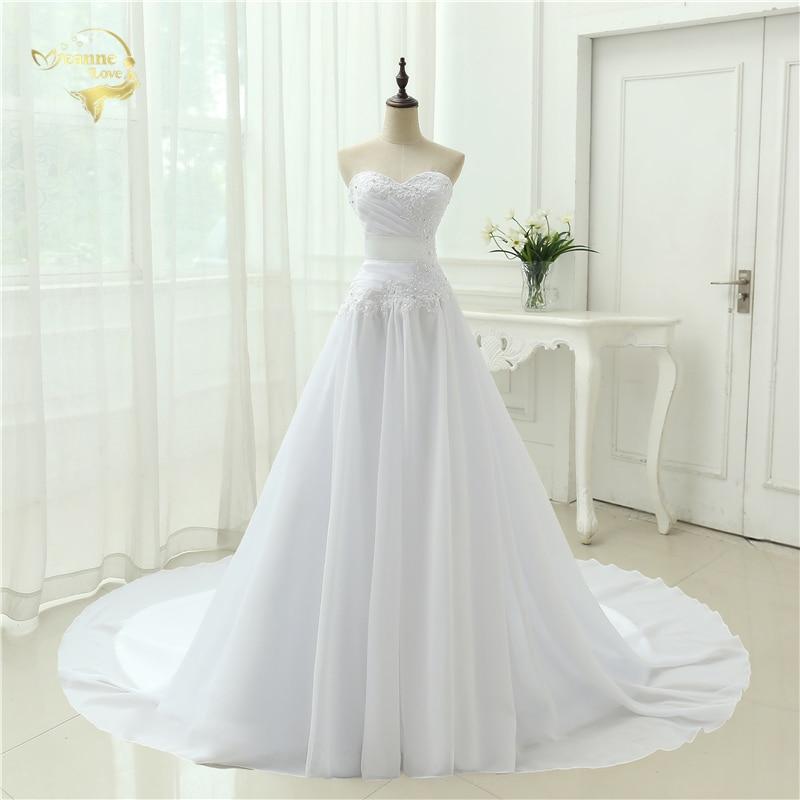 Jeanne Love Royal Sweetheart A Line Wedding Dresses 2019: Vestidos De Novia 2019 New Arrival Chiffon Wedding Dresses