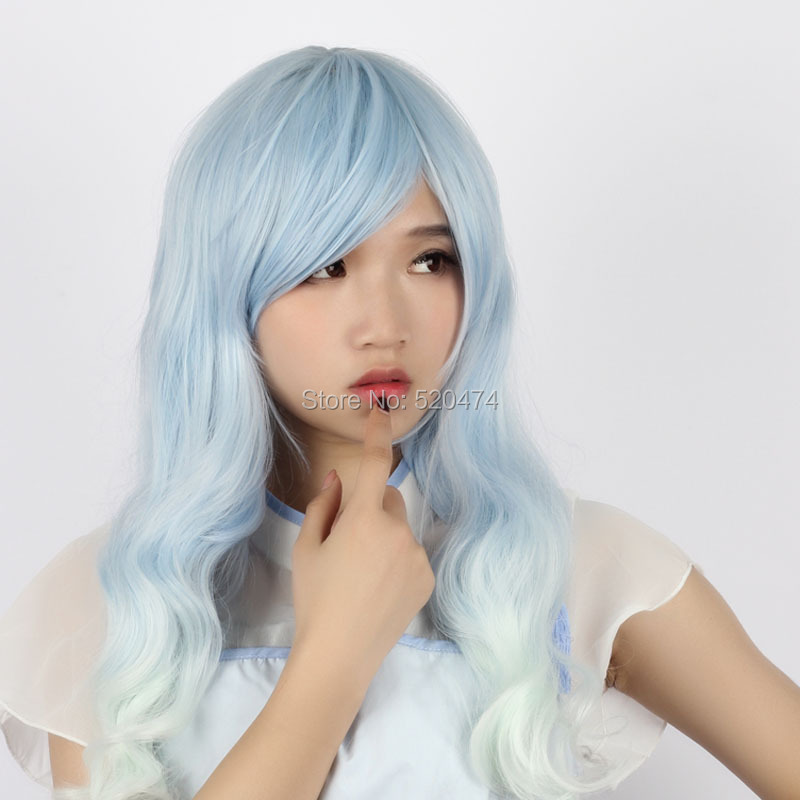 MCOSER 2016 Fashion Lolita Women's Party Long Light Blue Mixed Cosplay Synthetic Hair Full Wig