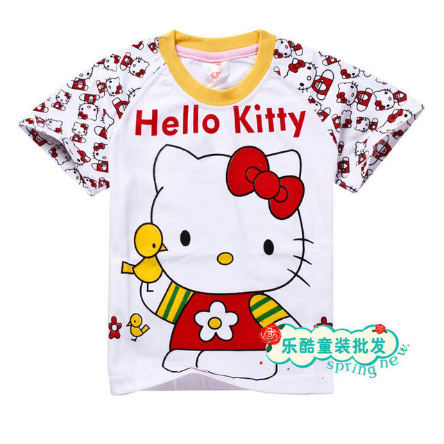 ad703a45f Hot Sale! New Fashion Kid's Wear Girls Cotton Short-Sleeves Cartoon KT CAT  T-Shirt Children's Hello Kitty Printing Clothes