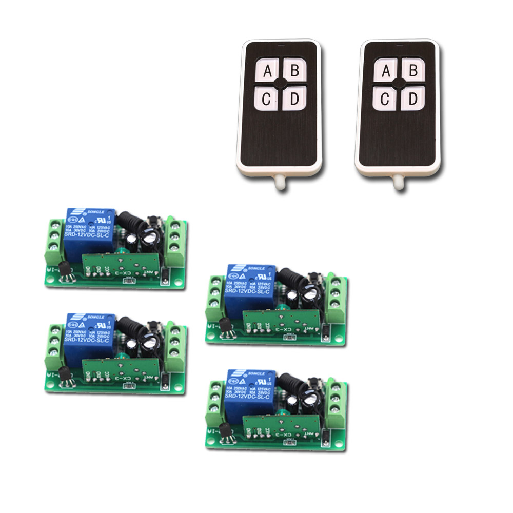 RF Wireless Remote Control Switch System 10A Relay receiver DC 9V 12V 24V Remote Switch 315/433MHZ купить