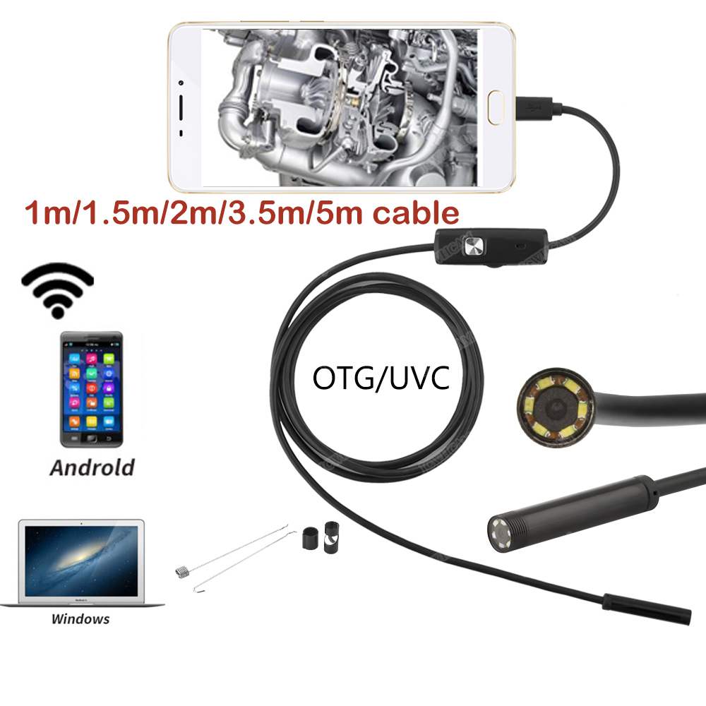 Samsung HuaWei Android Endoscope Camera Soft Wire 5.5mm Lens USB Android Endoscope Led Light Waterproof Pipe Inspection Camera