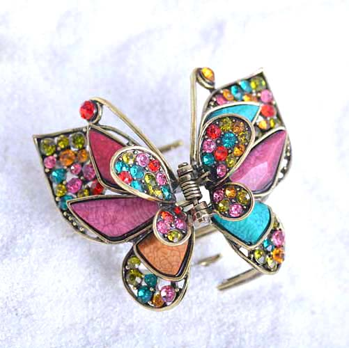 Classic Butterfly Clip Ornaments Antique Bronze Plating Vintage Rhinestone Hairpin Hair Claw For Women Hair Accessories 12cm large acrylic studs crystal claws women black hair clip super quality hair claw black white colors girl hair accessories