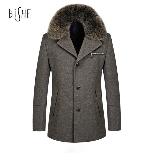 Jaqueta Moda inverno Gola de Pele De Raposa Casaco de Lã Fina Único Breasted Casaco de Lã Espessamento Dos Homens Herren Mantel Plus Size M-4XL