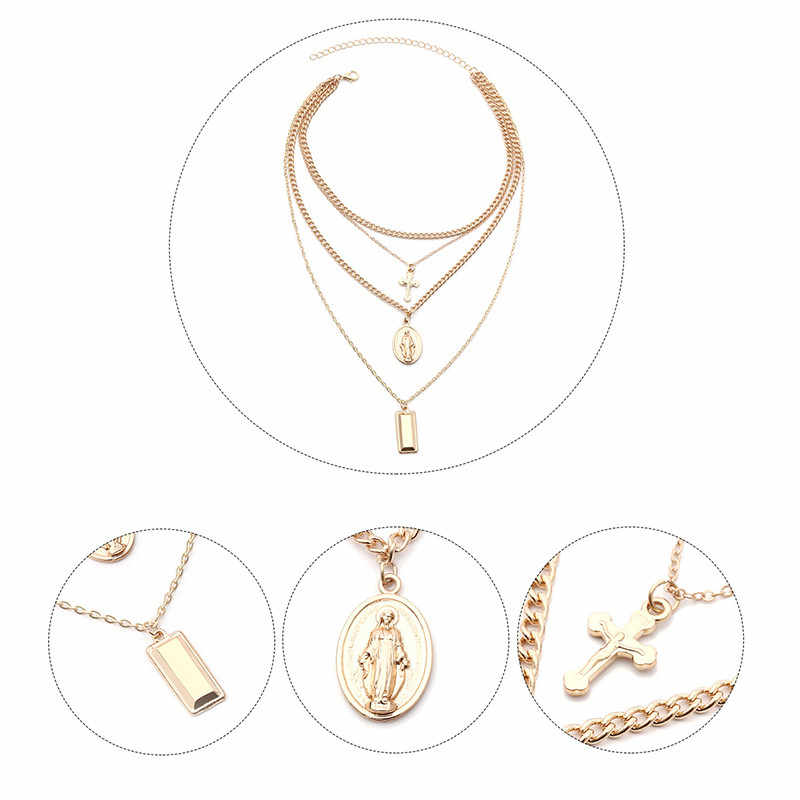 Multi-layer Cross Layered Necklace Jesus Virgin Mary Chain Pendant Necklace Easter Day's Gift For Women Jewelry religioso