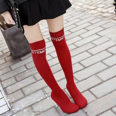 Lujo Diseño Zapatos 3 Sexy 8 Media Botas Ligero 1 Más 6 Stretch Botines Lisos 4 Las Mujeres Primavera 34 40 2 2018 Calcetines 7 Tacones Para 9 5 Extraño Inpired De wHFttE