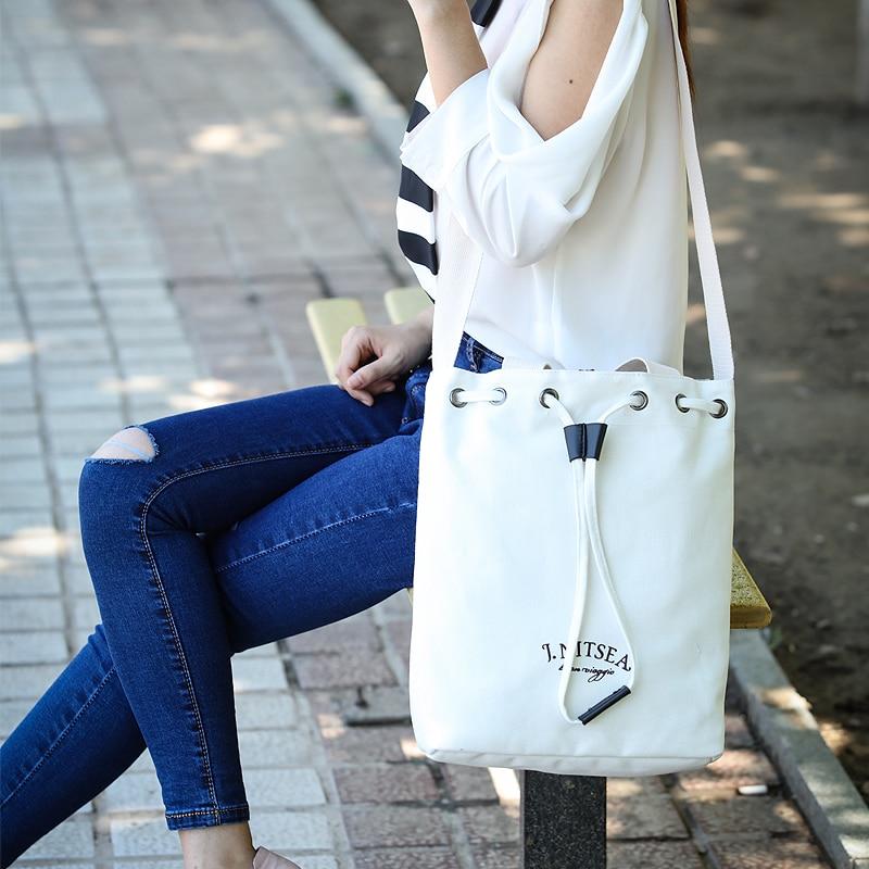 Canvas Handbag Drawstring Shoulder Bag Crossbody Bags Tote Shopping Bag Free Shipping