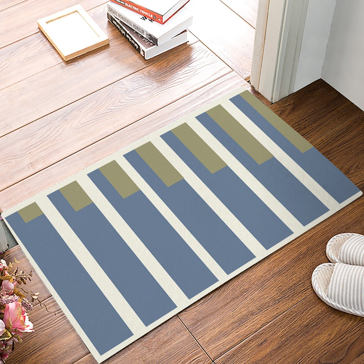 Green, Grey And Light Yellow Color Block Rectangle Door Mats Kitchen Floor Bath Entrance Rug Mat Absorbent Indoor Bathroom
