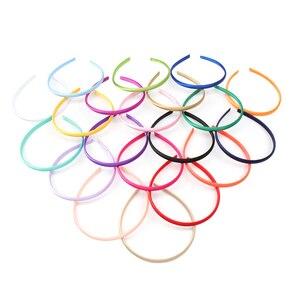 Image 4 - 100 ชิ้น/ล็อต Solid ซาตินสำหรับเด็กหญิง 10 mm ความกว้าง Candy สี Hairband อุปกรณ์เสริมผม Hoop