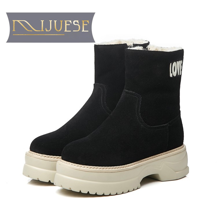 MLJUESE 2019 women snow boots Cow Suede Rome style zippers round toe winter warm plush platform boots women martin boots fashion women winter snow boots warm suede platform round toe ankle boots for women martin boots shoes