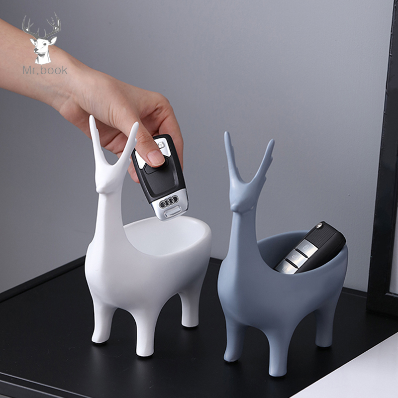 Creative Cartoon 3D Deer Shape Home Car Keys Holder Rack Resin Clip Holder Office Crafts Decorative Desktop Organizer Desk Set