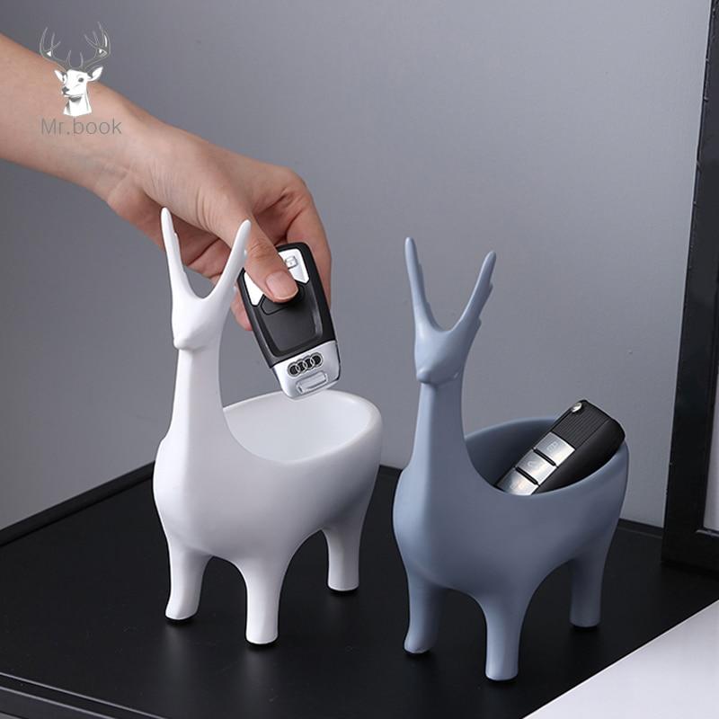 Creative Cartoon 3D Deer Shape Home Car Keys Holder Rack Resin Clip Holder Office Crafts Decorative Desktop Organizer Desk Set